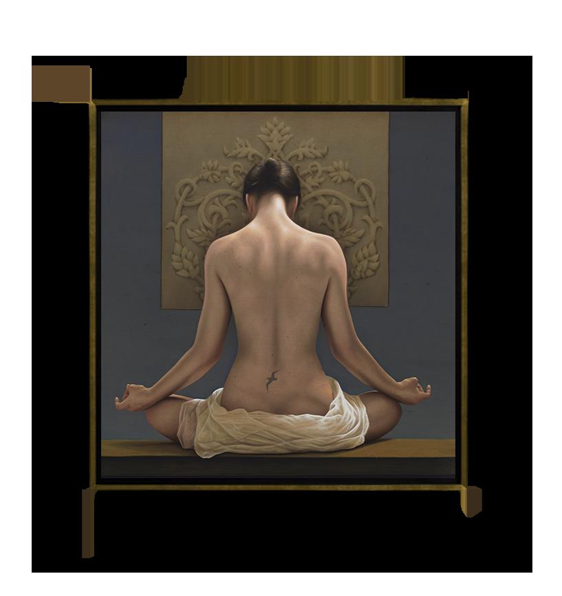 Flor de loto y gaviota - Óleo sobre Tela