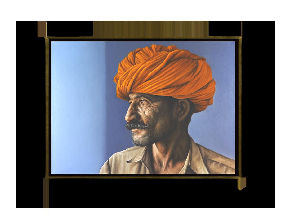 Hombre de Jaipur con turbante naranja - Óleo sobre Tela